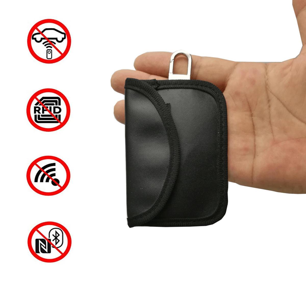 कार की सिग्नल सिग्नल ब्लॉकर केस फैराडे केज फोब पाउच कीलेस पु चमड़े का बैग 10.5 X 6.5CM