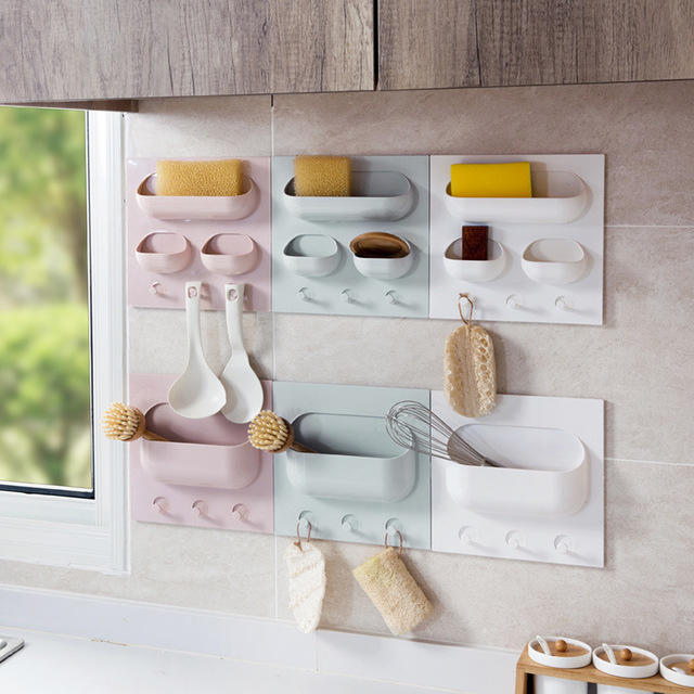 Wall-mounted Paste Storage Rack No Trace Strong Hanging Kitchen Storage  Rack Bathroom Wall Storage Box