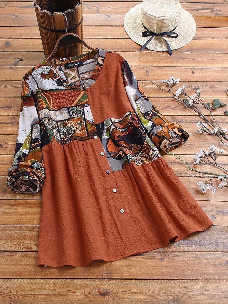 Blusa étnica de mangas compridas de retalhos de impressão étnica