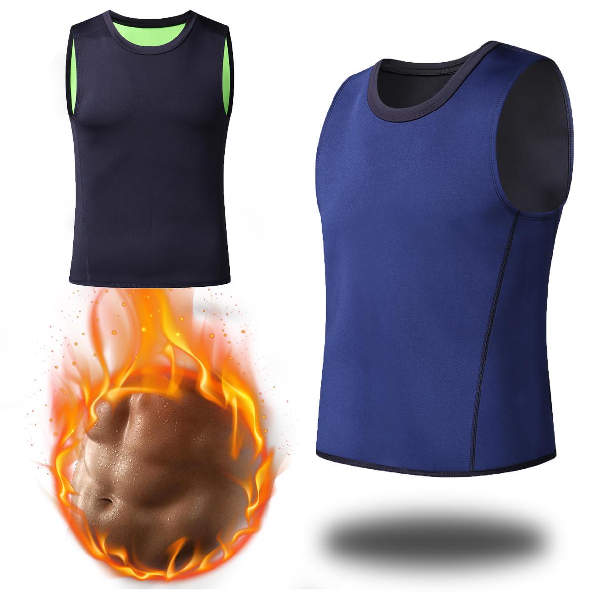 Men Slim Body Shaper Vest Neoprene Sport Sauna Sweat T-Shirt Fat Burning Waist Trainer