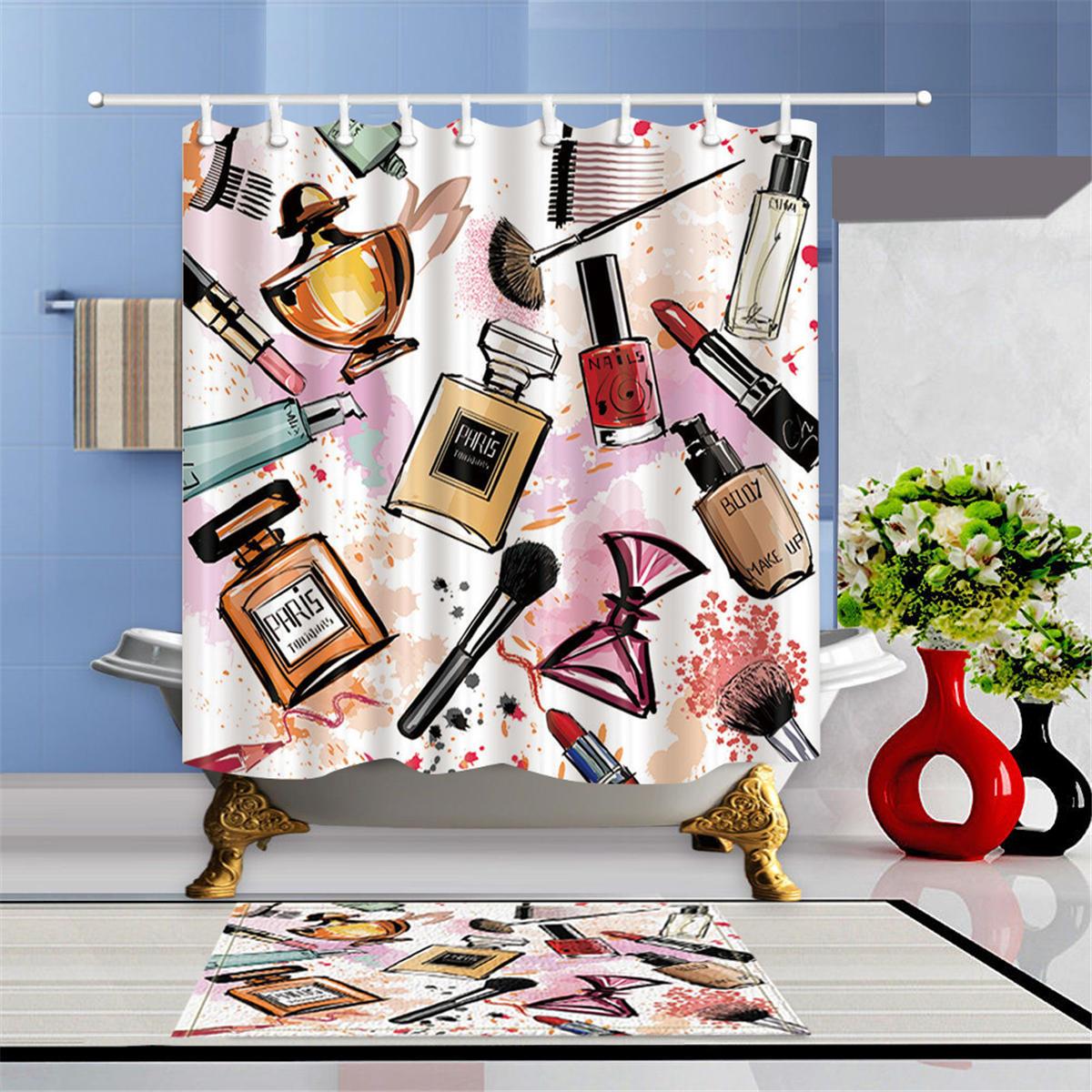 Fashion Cosmetic Waterproof Bathroom Shower Curtain Set With Hooks & Bath Mat Floor Mat, Banggood  - buy with discount