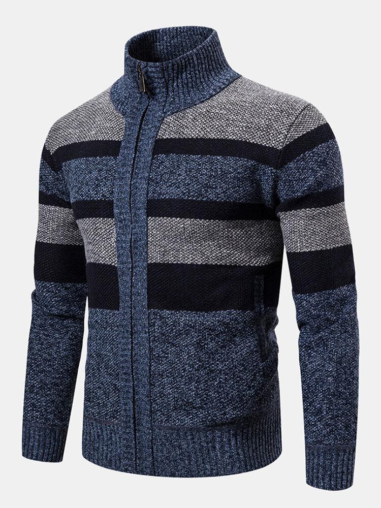 Banggood coupon: Mens Woolen Knitting Stand Collar Patchwork Thick Casual Jacket