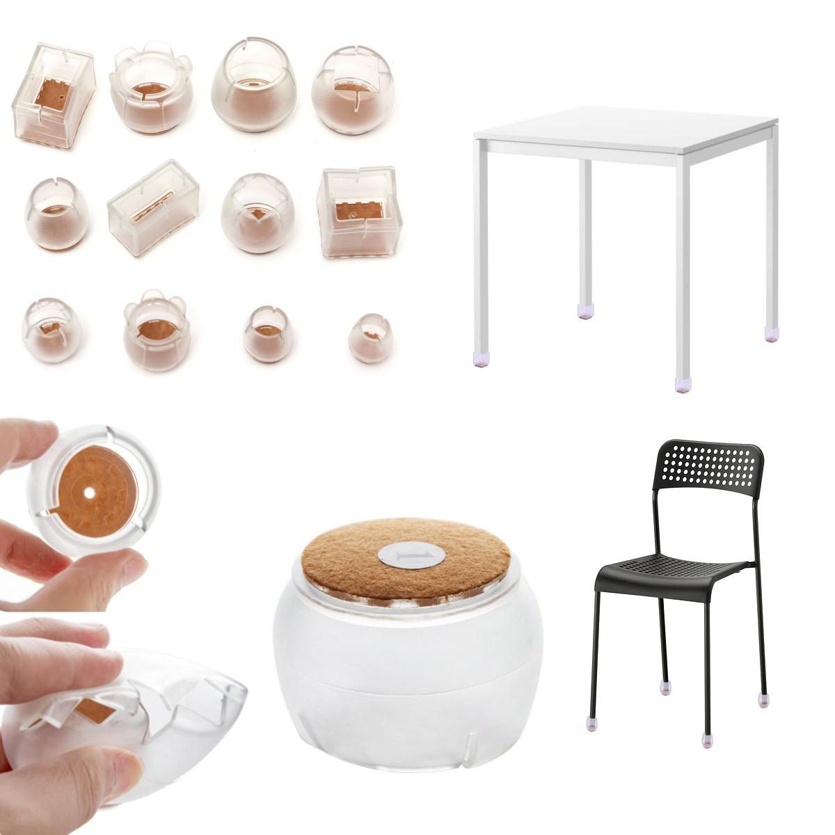 4Pcs Chair Leg Cap Silicon Rubber Feet Floor Protector Pad Furniture Wooden Table