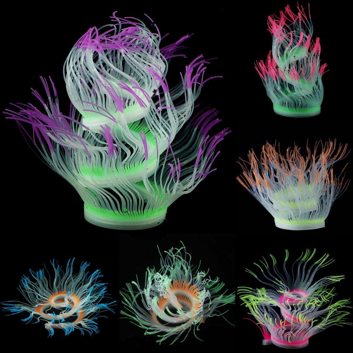 US Aquarium Fish Tank Silicone Sea Anemone Artificial Coral Ornament  Background