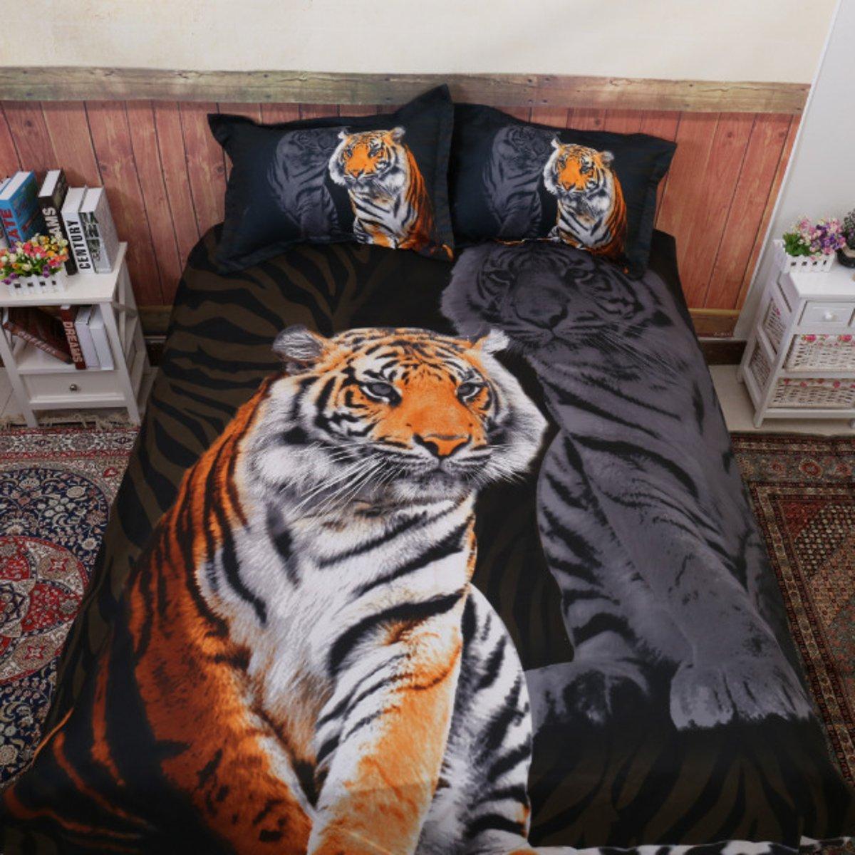 Bed Quilt Doona Duvet Cover Set Bedding Sets Black Polyester Tiger фото