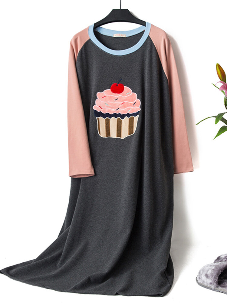 Cotton Patchwork O Neck Loungewear Long Sleeve Nightgown