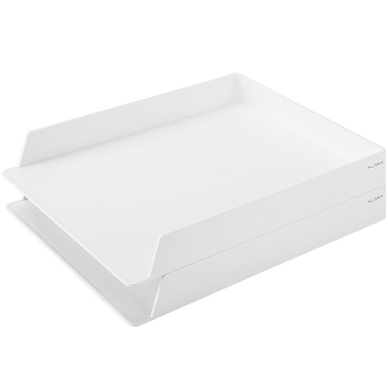 NUSIGN NS021 Stackable 2 Layers File Tray Holder Desktop Books Storage Rack Box Organizer Office Supplies
