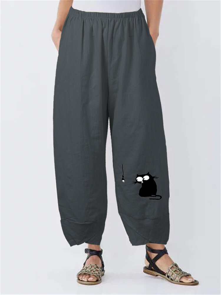 Solid Color Cartoon Cat Fish Print Plus Size Pants with Pockets