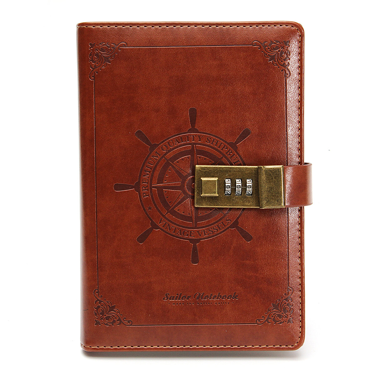 B6 Notebook Vintage Notepad Diary Daily Memos Planner Agenda Notebook PU Leather Sketchbook with Lock Password Office Sc