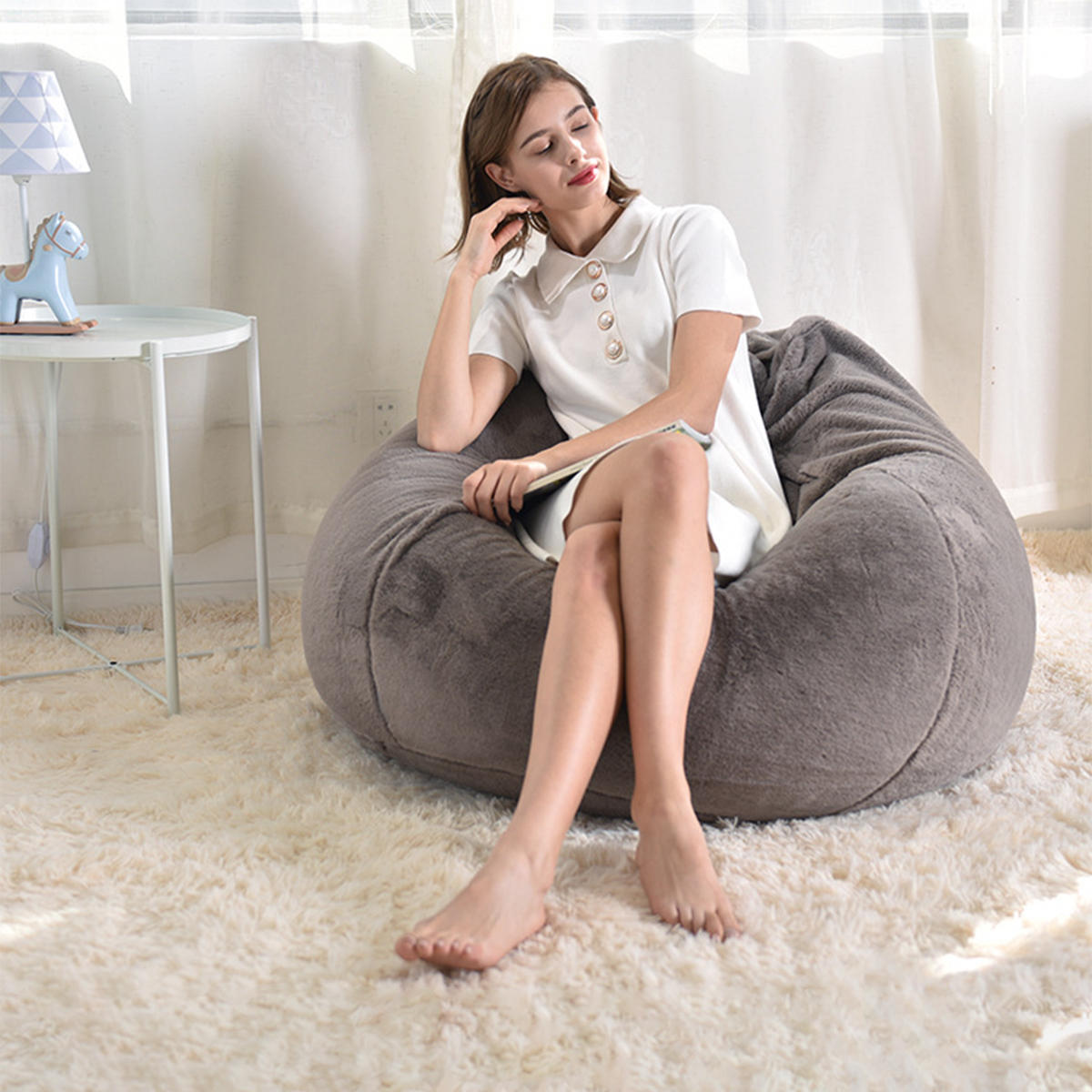 Enjoyable Nesloth Xl Large Bean Bag Chair Cover Indoor Lazy Manmade Rabbit Fur Sofa For Adult Kids 70 80 Bean Bag Cover Containing Inner Liner Cover Uwap Interior Chair Design Uwaporg