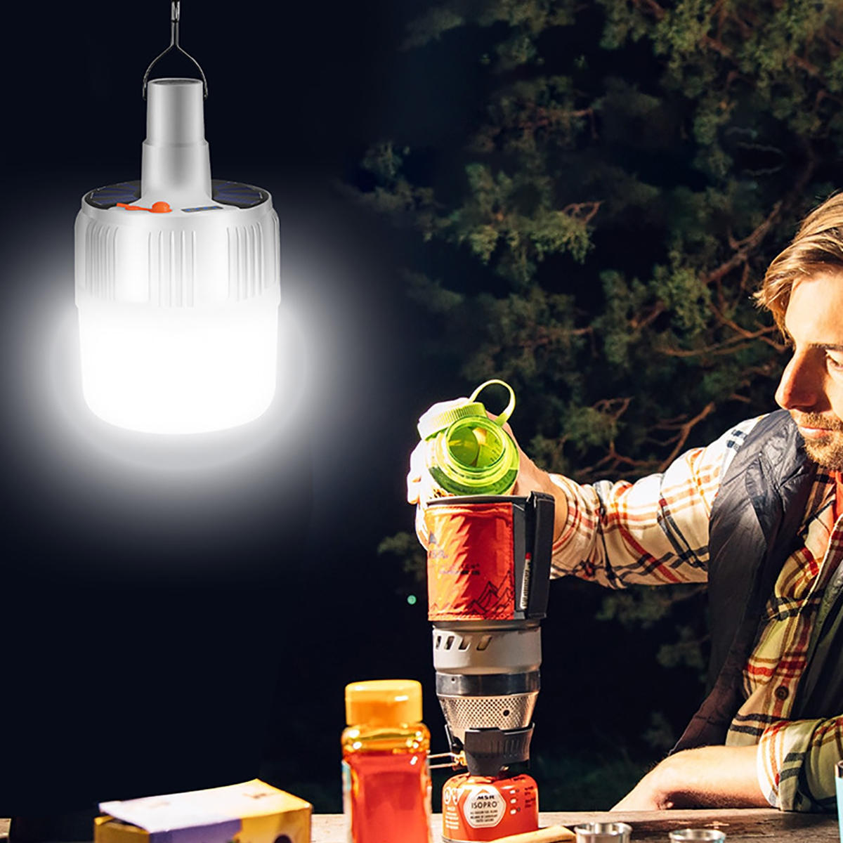 Rechargeable 5 Modes Solar Powered LED Bulb Emergency Light for Outdoor Camping Use