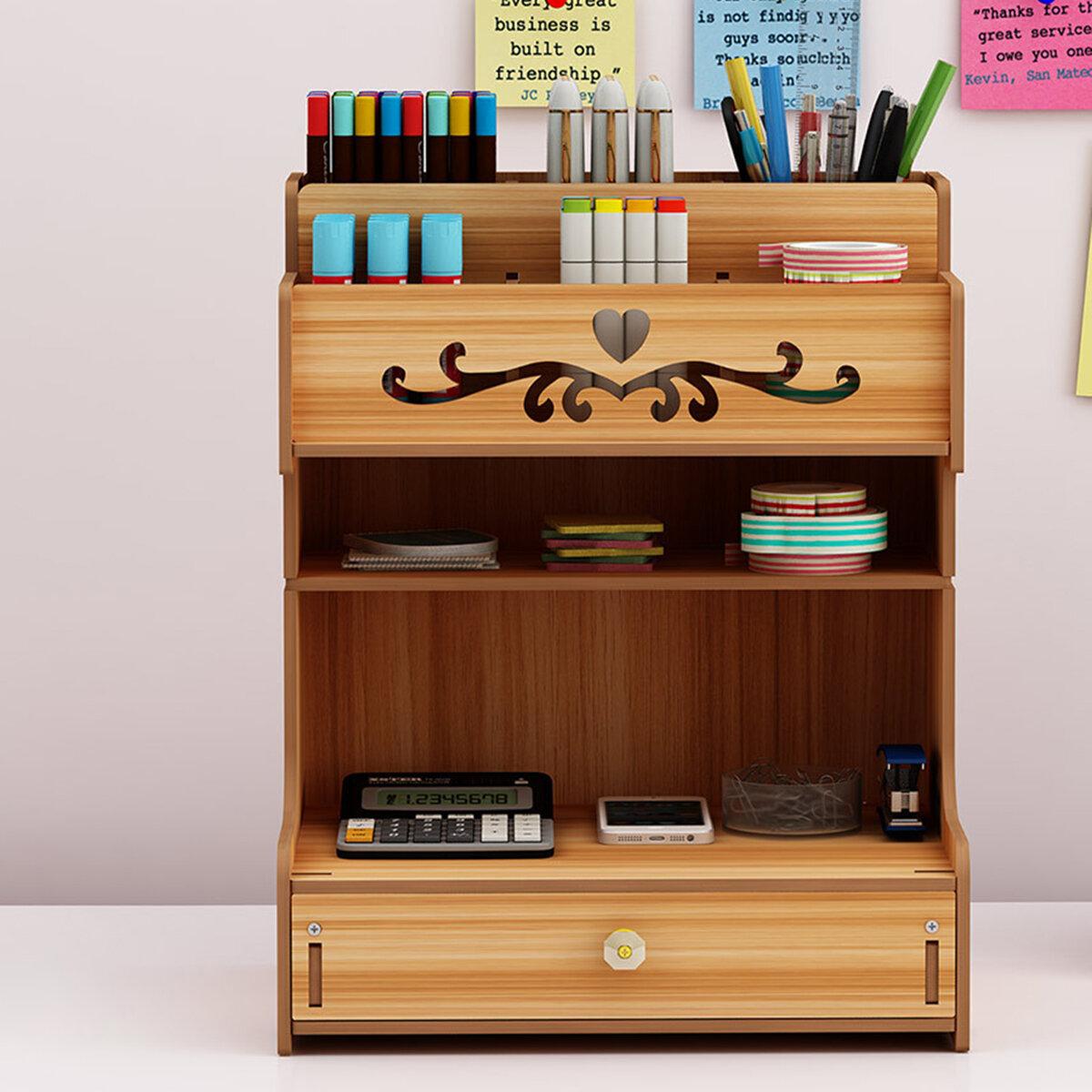 Wooden Desk Organizer Multi_Functional DIY Pen Holder Box Cell Phone Holder Desktop Stationary Home Office Supplies Storage Rack with Drawer