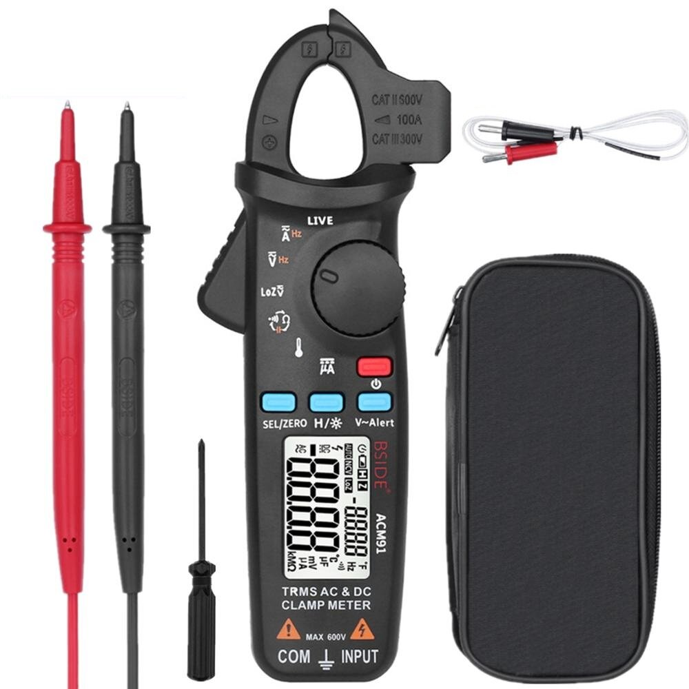 BSIDE ACM91 Digital AC/DC Current Clamp Meter Auto-Range Car Repair TRMS Multimeter Live Check NCV Frequency Capacitor Tester  Mustool MT866