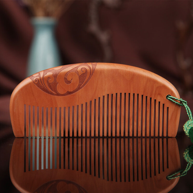 Wooden Comb Double-Sided Carving Peach Wood Comb Tassel Nanmu Mahogany Massage Hair Scalp Hair Care