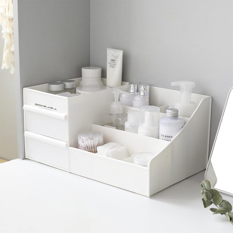 Almacenamiento cosmético de escritorio Caja Cajón Gran capacidad Maquillaje Organizador Tocador Cuidado de la piel Rack Contenedor de la casa Teléfono móvil Misceláneas