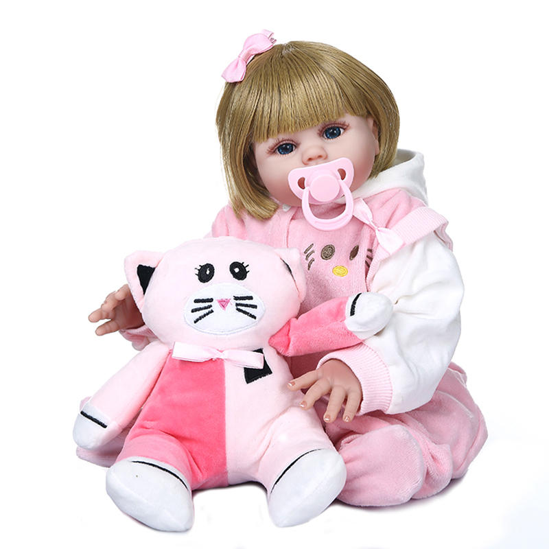 NPK 48CM Handmade Soft Silicone Lifelike Girl Doll Full Body Flexible Reborn Baby Doll with Pink Dress Doll
