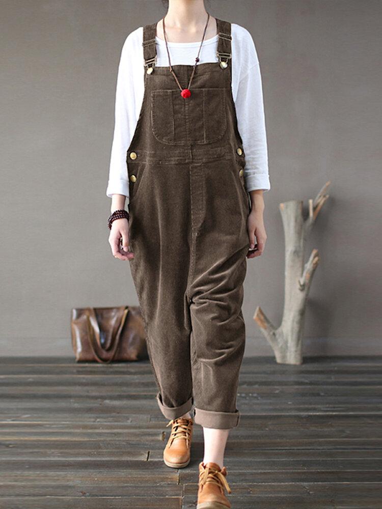 Corduroy Sleeveless Causal Side Pocket Jumpsuit