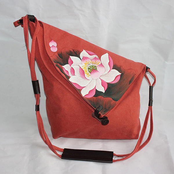 Brenice Women Hand Painted Floral Vintage Chinese Style Shoulder Crossbody Bag