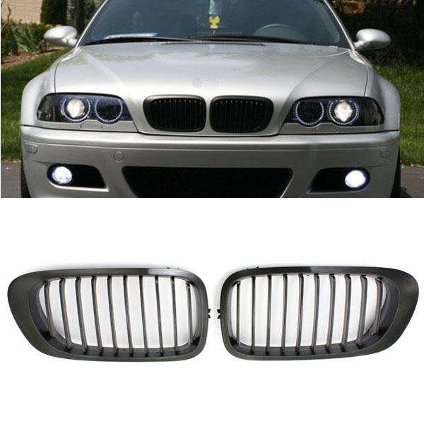 Chrome Black Kidney Front Grille Grill For BMW E46 3 Series