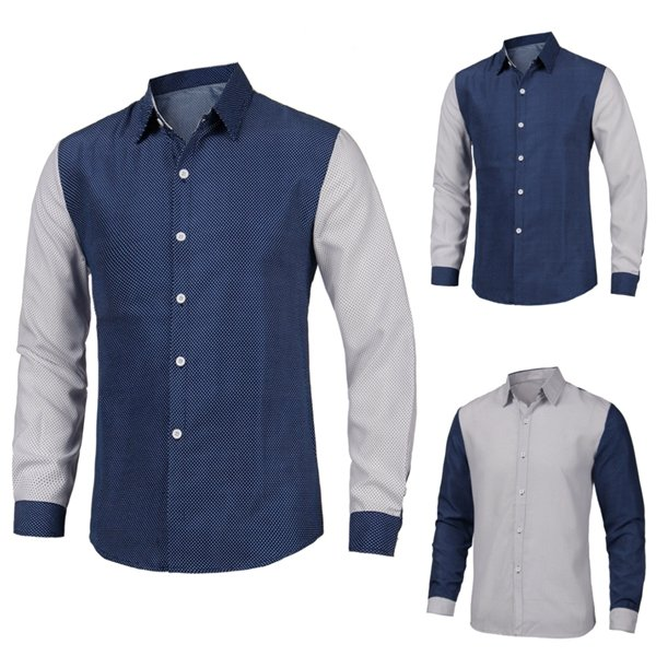 Mens British Style Quality Dot Print Spell Color Long-sleeved Casual Dress Shirt
