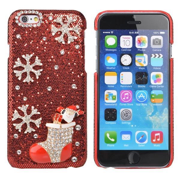 Luksus Crystal Håndlaget Bling Christmas Strømpebukse Veske til iPhone 6