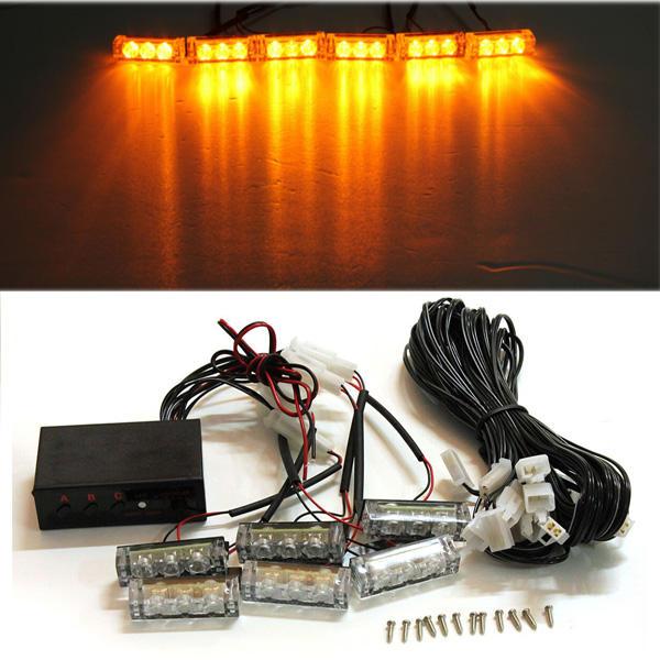 12v 6 ambra LED luci lampeggianti Grill Bar flash avvertimento di autosoccorso