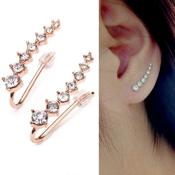 Italina Rhinestone Crystal Ear Cuff Earrings 18K Rose Gold Plated