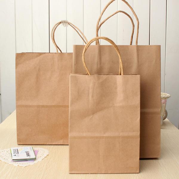 Marrón kraft bolsas de papel bolsa de papel reciclable partido compras bolsa de papel bolsas de regalo