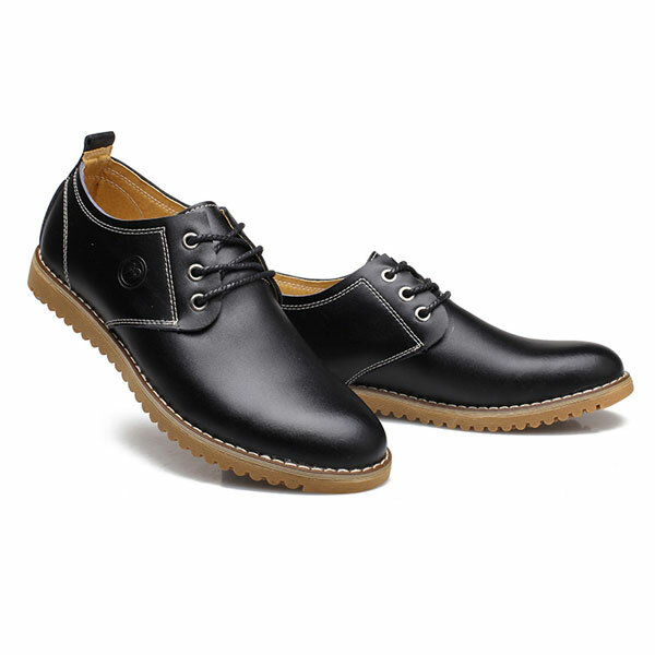 New Outdoor Men Casual Flat Breathable Leather Shoes