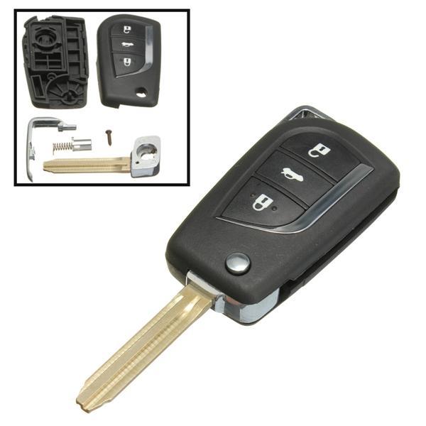 Remote Car Key Fob Cover 3 Button Flip For Toyota Yaris Echo Tarago Camry  Rav4 Collara