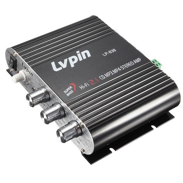 LVPIN 12V 200W Super Bass Mini Hi-Fi Stereo Amplifier Booster MP3 Car Home Radio