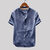 Mens Vintage Solid Color Single-breasted Stand Collar Short Sleeve Loose Casual Shirts