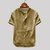 Mens Vintage Solid Color Single-breasted Stand Collar Short Sleeve Lösa Casual Shirts