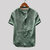 Mens Vintage Stand Collar Solid Color Short Sleeve Loose Casual T-shirts