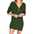 Women Casual Solid Color Long Sleeve V-Neck Mini Dress