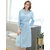 Long Sleeve Knit SPA Bathrobe With Pocket Kimono Robe Nightgown