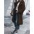 Pure Color Long Sleeve Turn-down Color Thicken Mid-long Coats