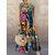 Kadın Retro O-Yaka Çiçek Baskı Kolsuz Maxi Elbise