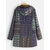 Vintage Print Fleece Hooded Plus Size Coats with Pockets
