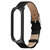 Metal Case Weave Texture Leather Watch Band Watch Strap Replacement for Xiaomi Miband 4