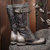 SOCOFY Embossed Rose Pattern Genuine Leather Stitching Metal Buckle Mid Calf Boots