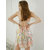 Floral Printed Backless Spaghetti Cross Straps Satin Nightgown