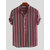 Mens Summer Hit Color Stripe Chest Pocket Stand Collar Short Sleeve Loose Casual Henley Shirts