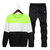 Mens Casual Sport Suit Stitching Color Long Sleeve Sweatshirt Jogger Pants Running Clothing