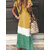 Contrast Color Short Sleeve Casual Maxi Dress For Women