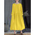Casual Women Loose Solid Color Pleated Round Collar Long Sleeve Dress