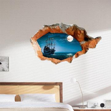 3d barco noche engomadas del arte etiquetas de la pared de la pared pared del agujero de 38 pulgadas decoración del hogar extraíble