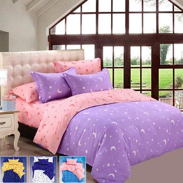 Honana 4pcs Bedding Pillow Suit Polyester Fibre Star Moon Reactive Printed Bedding Sets