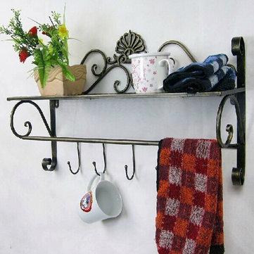 Pared arte del hierro toalla colgando plataforma de almacenamiento de baño estante