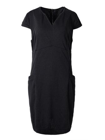 Plus Size Women Black Sexy Deep V Pockets Pencil Dress